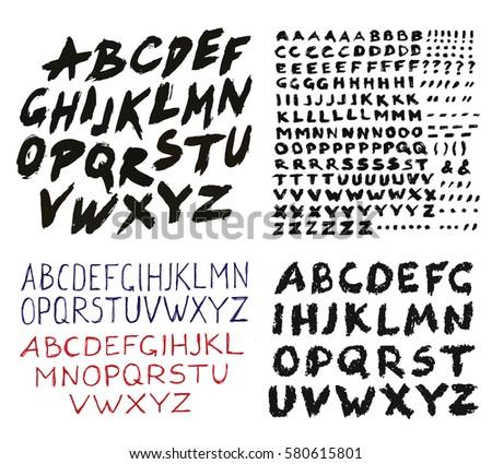Painted Abc set. Bold grunge handwritten font. Sans serif alphabet. Distress texture brush strokes. Ink headline type, acrylic print. Grungy style. Isolated paintbrush design elements. Heavy letters.