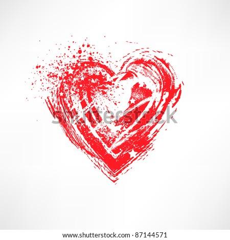 Painted brush heart shape