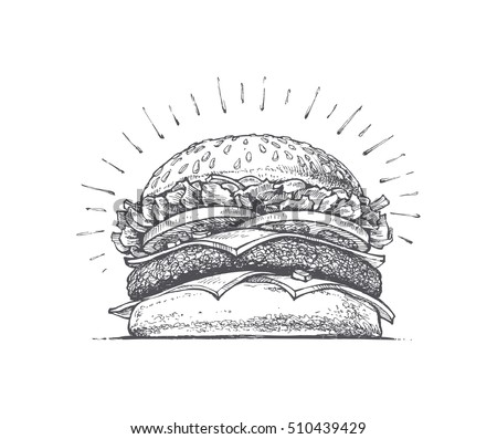 painted burger, big burger retro style, vector illustration