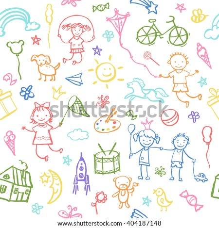 Painted by hand in doodle style seamless pattern on the theme of childhood. Vector illustration for children design.