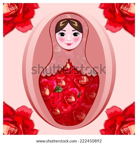 painted  crimson roses, painted matryoshka in crimson roses on a pink background