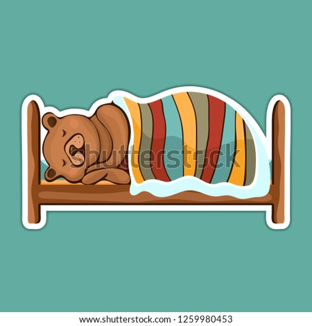 Painted cute funny brown bear in hibernation lying on the bed covered with blanket and sleeping sticker, colorful hand drawing, cartoon character, vector illustration, isolated on colored background