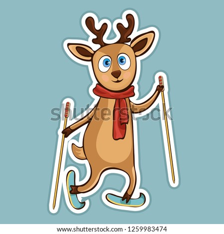 Stock Photo Painted cute funny deer in scarf with ski poles ride skiing sticker, print, colorful hand drawing, cartoon character, vector illustration, caricature, isolated with white stroke on colored background
