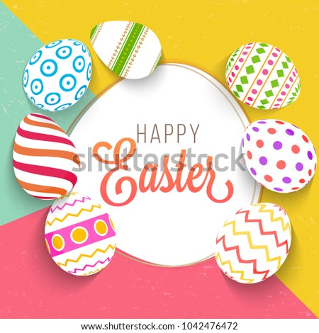 Painted Easter Eggs on colorful background. Happy Easter Concept. #1042476472