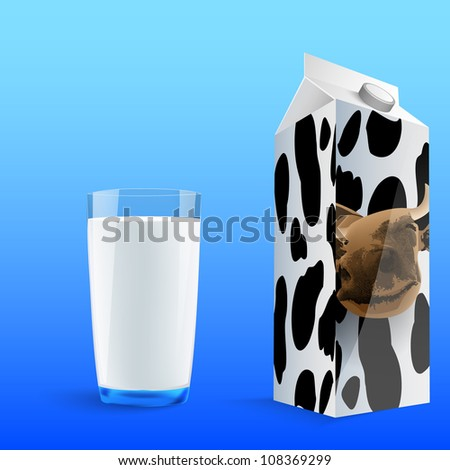 painted glass of milk with a carton of milk, a cow, spots