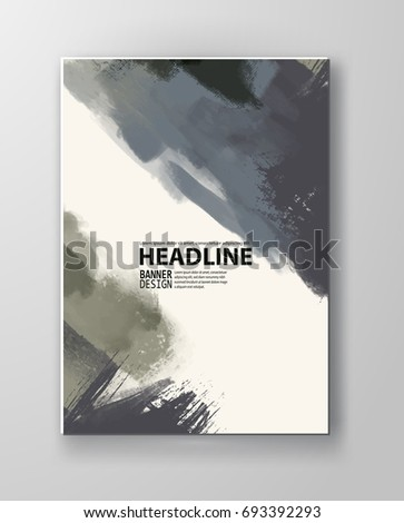Painted grunge poster element. Khaki ink vector banner stains isolated on white. Backgrounds for design. Hand drawn vector illustration on white background. Brush strokes vector.