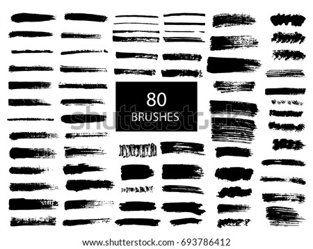Painted grunge stripes set. Black  labels, background, paint texture. Brush strokes vector. Handmade design elements. #693786412