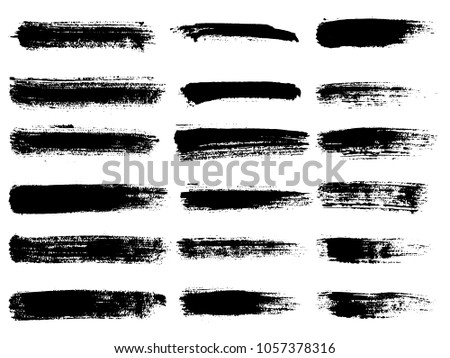 Painted grunge stripes set. Black labels, background, paint texture. Brush strokes vector. Handmade design elements. #1057378316