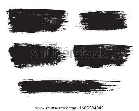 Painted grunge stripes set. Black labels, background, paint texture. Brush strokes vector. Handmade design elements. Vector