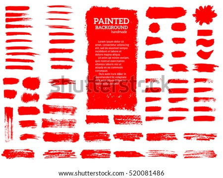 Shutterstock Painted grunge stripes set. Red  labels, background, paint texture. Brush strokes vector. Handmade design elements.