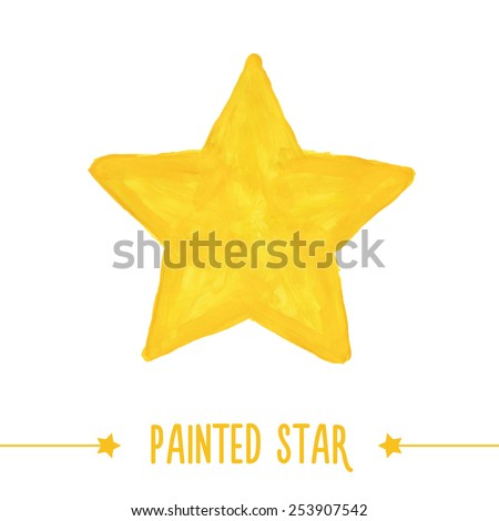 Painted hand drawn yellow star. Vector illustration