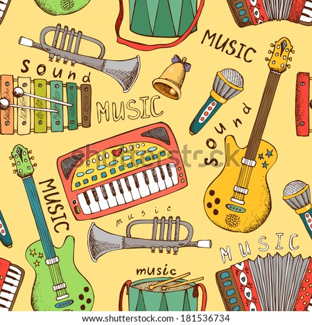 painted musical instrument seamless pattern vector illustration