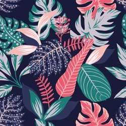 Painted tropical exotic leaves abstract colors in a cartoon style. Seamless vector wallpaper pattern on a dark blue background