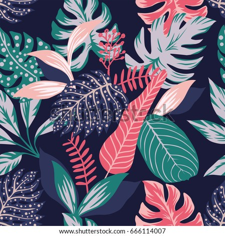 Vector Images Illustrations And Cliparts Painted Tropical Exotic Leaves Abstract Colors In A Cartoon Style Seamless Vector Wallpaper Pattern On A Dark Blue Background Hqvectors Com Bringing the best of exotic tropicals to you! painted tropical exotic leaves abstract