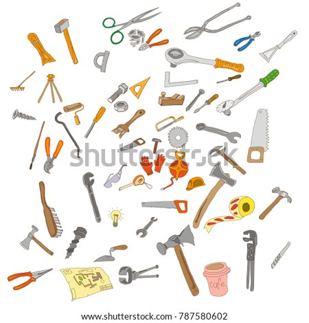 Painted vector set of various construction and metalwork hand tools, antique and modern. On a white background. Manual labor.
