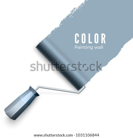 Painted wall and paint roller. Paint roller brush. Color paint texture when painting with a roller. Vector illustration isolated on white background