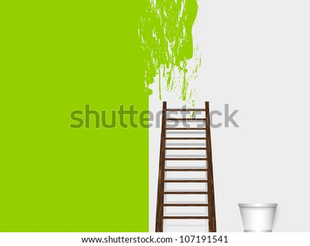 painted wall with a ladder and bucket