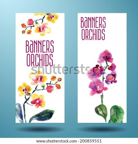 Баннеры с акварельными орхидеями.