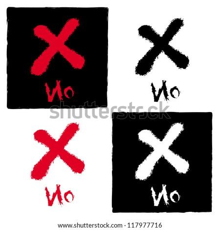 painted X mark on white, Vector illustration