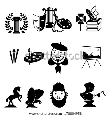 painter and sculptor vector icons. art Icons set