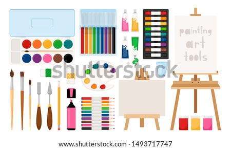 Painter art tools. Paint arts tool kit vector illustration, vector watercolor painting design artists supplies, easel and palette, painting brush and draw materials stock photo