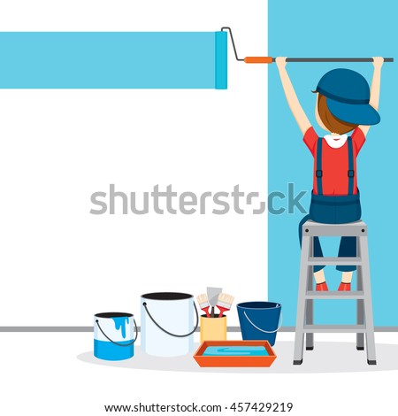 Painter Coloring Wall By Paintroller, People Occupations, Profession, Worker, Job, Duty