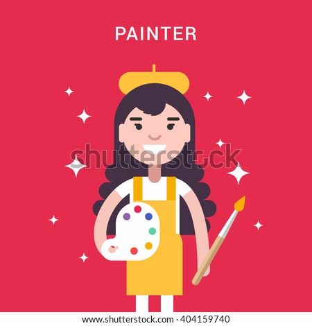 painter concept female cartoon