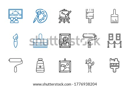 painter icons set. Collection of painter with brush, painting, oil paint, paint roller, paint brush, easel, palette, canvas. Editable and scalable painter icons.