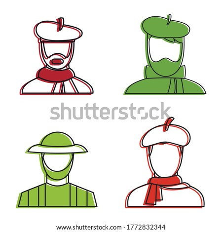 Painter man icon set. Color outline set of painter man vector icons for web design isolated on white background