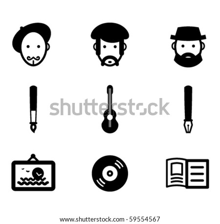 Painter, musician, writer and their works. - stock vector