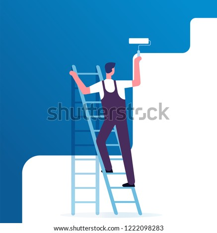 Painter painting wall. Worker on ladder paints home. Repair service and renovation vector concept