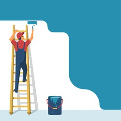Painter standing on staircase paints the wall. Man is holding paint roller in hand. Vector illustration flat design style. Human runs to provide construction work. Customer Service. Worker in uniform.