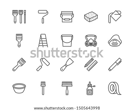 Painter tools flat line icons set Home renovating equipment roller paintbrush ladder masking tape, respirator vector illustrations. Outline signs interior design. Pixel perfect Editable Strokes.