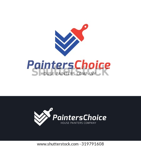 painters choice house paint repair painting services painting logo home house vector logo. Black Bedroom Furniture Sets. Home Design Ideas