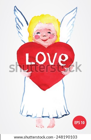 painting angel with red  heart
