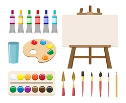 Painting art tools. Cartoon paint arts vector artistic elements, brush or paintbrush, palette and watercolor tubes, easel and canvas