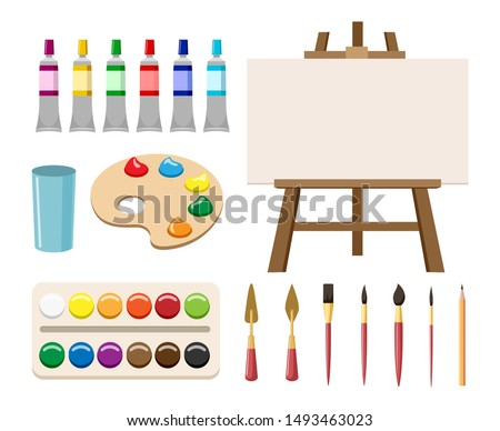 Painting art tools. Cartoon paint arts vector artistic elements, brush or paintbrush, palette and watercolor tubes, easel and canvas Photo stock ©
