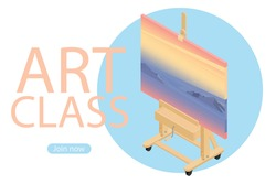 Painting at art school. Art class join now. Isometric view. Vector
