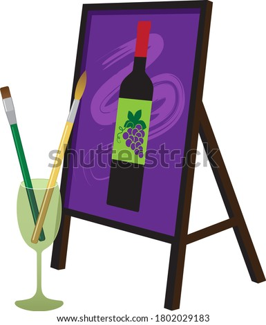 Painting brushes in a wine glass and a painting of a wine bottle on an easel representing a paint and sip party, EPS 8 vector illustration Stock photo ©