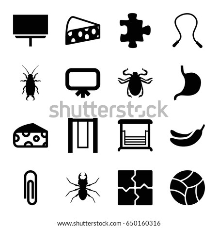 Painting icons set. set of 16 painting filled icons such as cheese, beetle, board, puzzle, banana, swing, stomach, beach ball, skipping rope