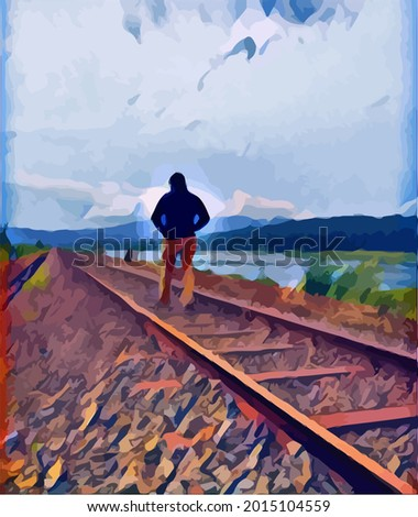 painting man  walking in the
