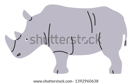 Painting of a grey rhinoceros with two horns  short tail  blackish lines over the leathery skin  set on isolated white background viewed from the side  vector  color drawing or illustration