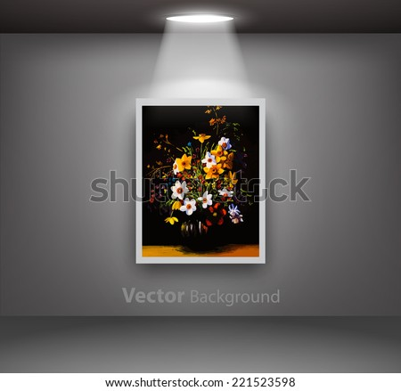Painting of vase with flowers hanging from dark gallery wall Fully editable eps10