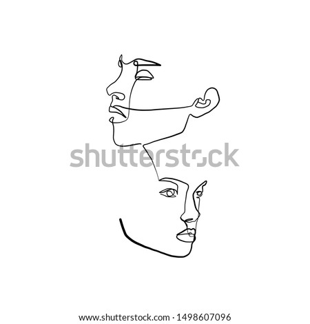 Painting one line young woman or girl portrait face, beauty single icon, simple fashion logo, continuous hand drawing art. Female carton figure isolated on white background.