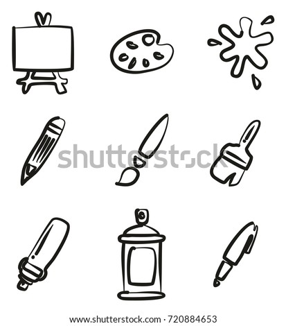 painting or drawing tools icons