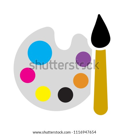 painting palette icon, vector drawing sign isolated - color art icon