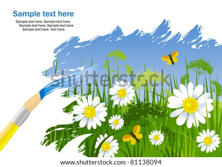 Painting summer landscape with green grass and camomile