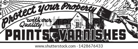 Paints Varnishes - Retro Ad Art Banner for Home Improvement