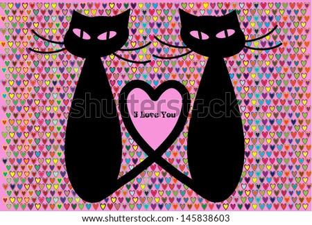 pair of black cats in love