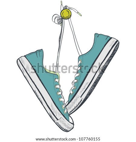 Pair of blue sneakers on the white background drawn in a sketch style. Sneakers hanging on a peg. Vector illustration.